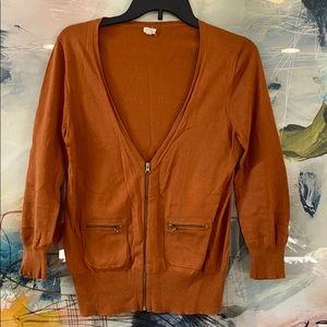 J. crew orange zip up cardigan size small women's